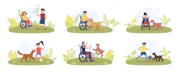 Niepełnosprawne dziecko, zestaw rekreacyjny dla dorosłych