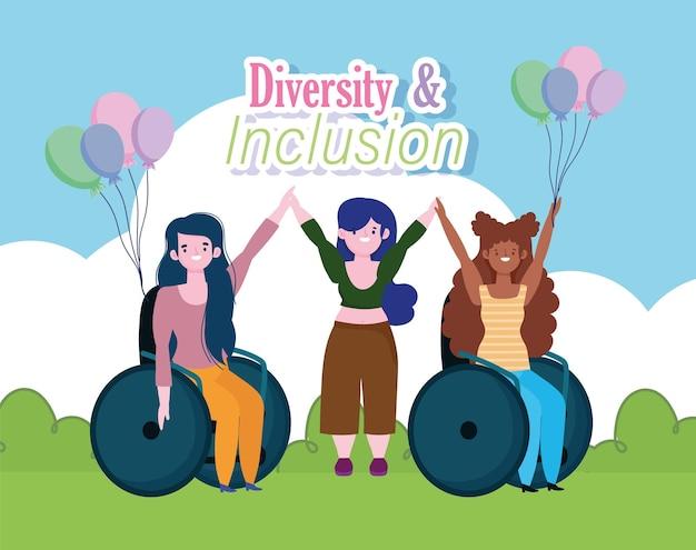 Niepełnosprawne dziewczyny siedzące na wózku inwalidzkim i gruba dziewczyna w parku, ilustracja włączenia