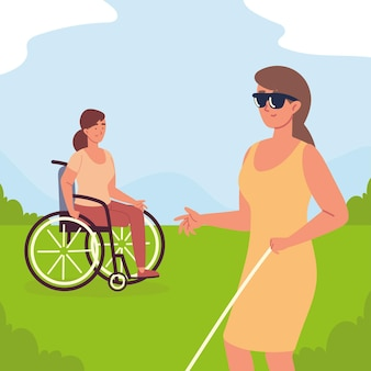 Niepełnosprawne młode kobiety