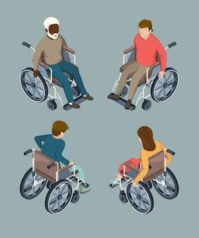 Niepełnosprawni ludzie płci męskiej i żeńskiej ustawiający na wózkach inwalidzkich. ilustracje wektorowe na białym tle izometryczny
