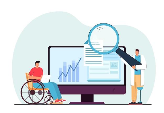 Niepełnosprawni ludzie pracujący online płaska ilustracja