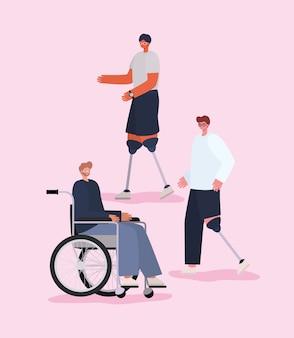 Niepełnosprawni mężczyźni z wózkiem inwalidzkim i protezą o tematyce związanej z integracją i opieką zdrowotną.