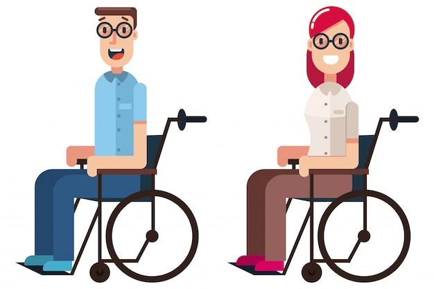Niepełnosprawni na wózkach inwalidzkich płaskich charakterów odizolowywających na bielu