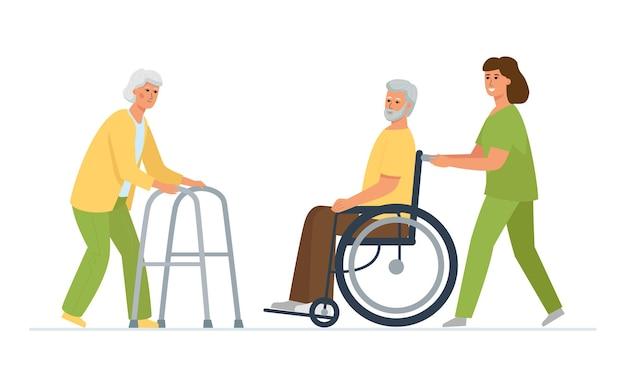 Niepełnosprawni pacjenci z pielęgniarką. spotkanie starszej pary w domu opieki, kobiety z chodzikiem, mężczyzny na wózku inwalidzkim.