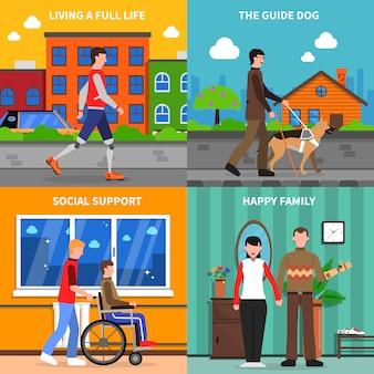 Niepełnosprawni pojęcie 4 płaskich ikon kwadrat