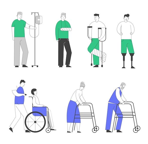 Niepełnosprawność duży zestaw starych i młodych osób niepełnosprawnych, mężczyzn i kobiet, korzystających z wózka inwalidzkiego, o kulach.