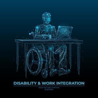 Niepełnosprawność i integracja w pracy szablon transparentu low poly wireframe. osoby niepełnosprawne możliwości kariery zawodowej plakat wielokątny. graficzna siatka 3d dla niepełnosprawnych freelancer z połączonymi kropkami