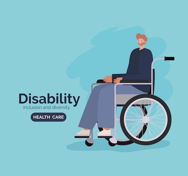 Niepełnosprawność kreskówka mężczyzna na wózku inwalidzkim z motywem różnorodności włączenia i opieki zdrowotnej.