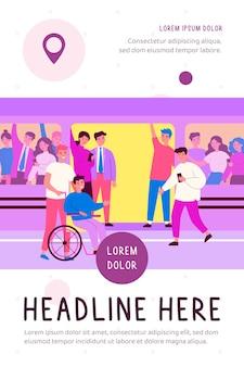 Niepełnosprawny facet i jego pomocnik podróżujący płaską ilustracją pociągu metra