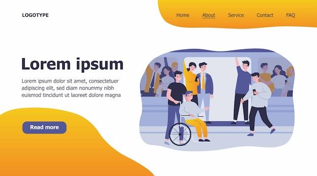 Niepełnosprawny facet i jego pomocnik podróżujący pociągiem metra ilustracji