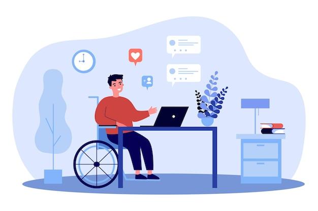 Niepełnosprawny facet na wózku inwalidzkim na czacie online
