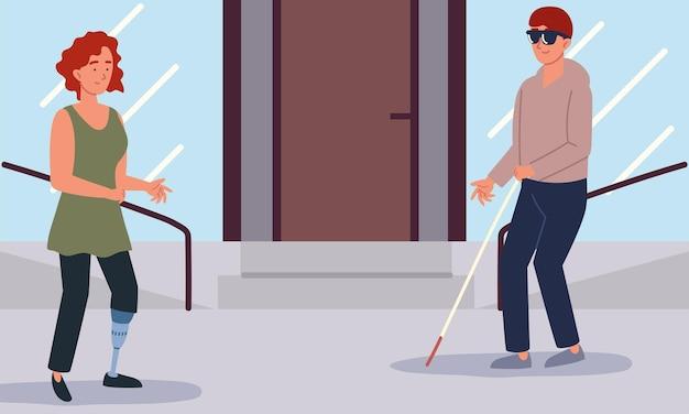 Niepełnosprawny mężczyzna kobieta
