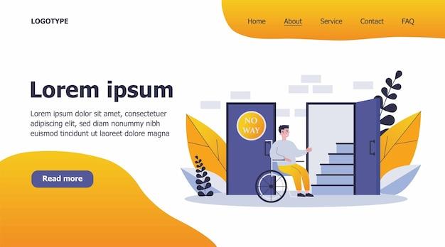 Niepełnosprawny mężczyzna na wózku inwalidzkim, patrząc na ilustrację schody