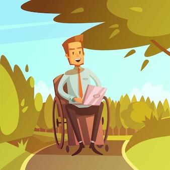 Niepełnosprawny mężczyzna na wózku inwalidzkim