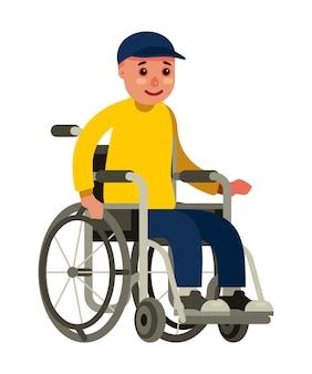 Niepełnosprawny mężczyzna obsiadanie w wózku inwalidzkim na białym tle z płaskim stylem