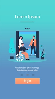 Niepełnosprawny mężczyzna wsiada do kabiny windy