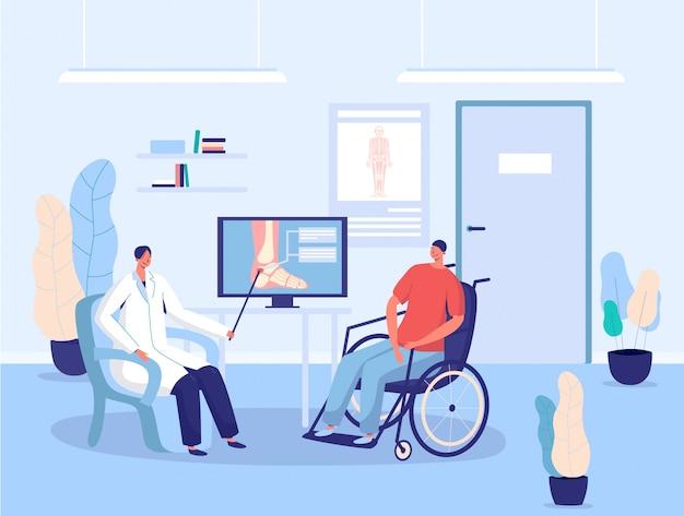 Niepełnosprawny pacjent w wózku inwalidzkim, lekarz szpitalny konsultacja, ilustracja