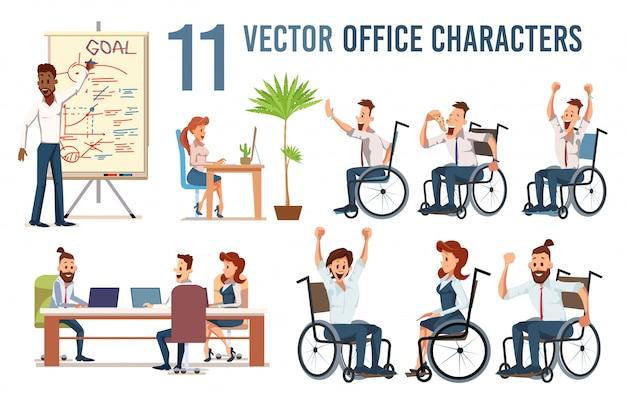 Niepełnosprawnych pracowników biurowych wektor zestaw znaków