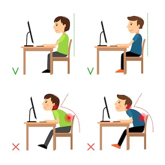 Niepoprawna i prawidłowa pozycja siedząca z tyłu