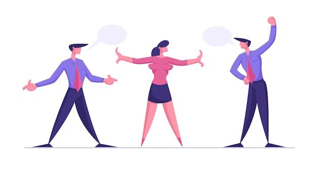 Nieporozumienia argumentujące mężczyzn przygotowują się do walki z bizneswoman, która próbuje przestać walczyć z biznesmenami