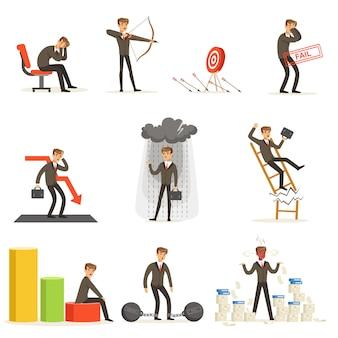 Niepowodzenie biznesowe i menedżer cierpiący na straty i zadłużenie zbiór upadłości i niepowodzeń firmy ilustracje