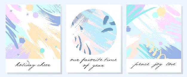 Niepowtarzalne artystyczne kartki świąteczne z ręcznie rysowanymi kształtami i teksturami w delikatnych pastelowych kolorach. modne pozdrowienia idealne na nadruki, ulotki, banery, zaproszenia, okładki i nie tylko. nowoczesne kolaże. v