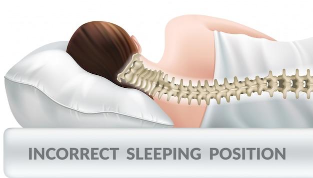 Nieprawidłowa pozycja do spania na zwykłej poduszce.