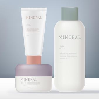 Nieprzezroczysty biały zestaw słoików lub tubek na butelki kosmetyczne lub medyczne z nakrętką lub wieczkiem w kolorze pastelowym