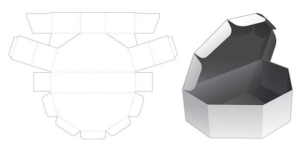 Nierówne sześciokątne pudełko z szablonem wycinanym w oknie