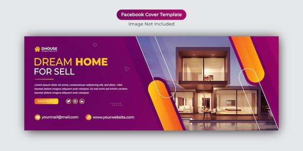 Nieruchomość dom na sprzedaż facebook okładka banner reklamowy szablon projektu