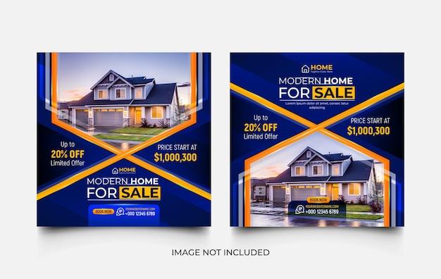 Nieruchomość dom na sprzedaż nowoczesny zestaw szablonów promocji w mediach społecznościowych