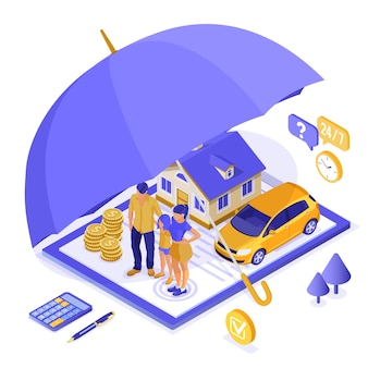Nieruchomość, dom, samochód, koncepcja izometryczna ubezpieczenia rodzinnego na plakat, witryna internetowa, reklama z polisą ubezpieczeniową w schowku, pieniądze, parasol i kalkulator. odosobniony