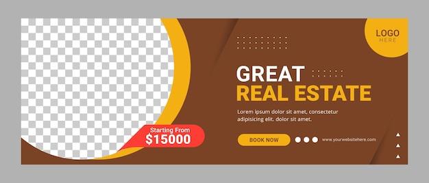 Nieruchomość facebook szablon okładki baner reklama domu na sprzedaż