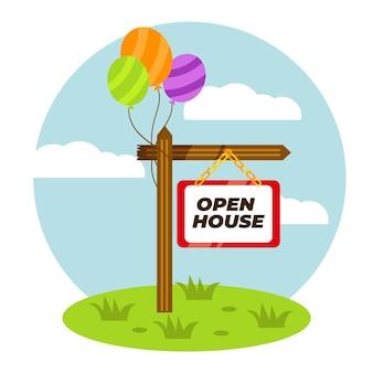 Nieruchomość otwarty dom znak z balonami