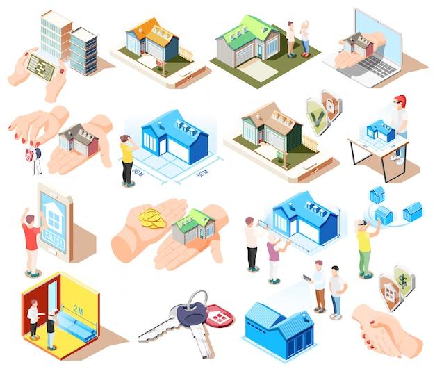 Nieruchomość rozszerzonej rzeczywistości isometric ikona ustawiająca z różnymi elementami i atrybutami budynki ilustracyjni