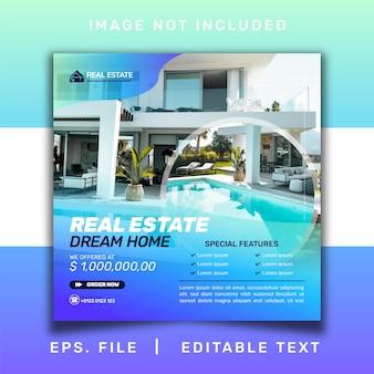 Nieruchomość sprzedaż domu promocja w mediach społecznościowych i szablon banera na instagramie projekt postu