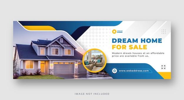 Nieruchomość sprzedaż domu w mediach społecznościowych facebook okładka baner internetowy