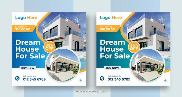 Nieruchomość w mediach społecznościowych nieruchomość w domu post na instagramie lub kwadratowy baner internetowy