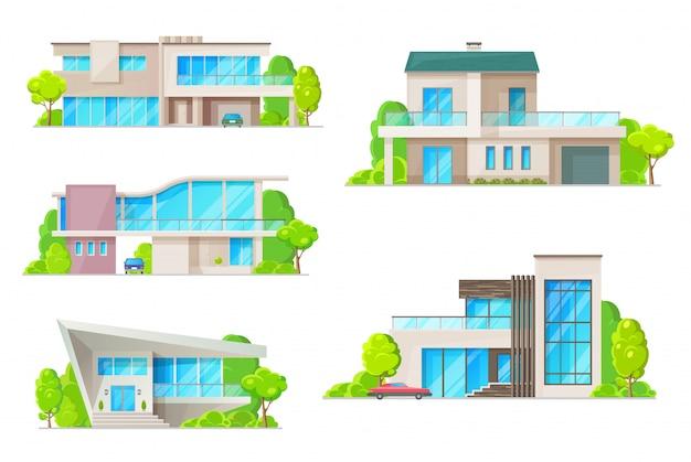 Nieruchomości dom ikony budynku z domów. willa mieszkalna, domek, bungalow i rezydencja na zewnątrz ze szklanymi oknami, drzwiami wejściowymi, dachem z kominem, garażem i symbolami samochodów