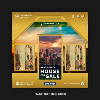 Nieruchomości dom na sprzedaż instagram ad social media banner szablon