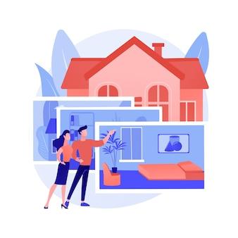 Nieruchomości fotografia abstrakcyjne pojęcie ilustracji wektorowych. usługi fotografii nieruchomości, reklama agencji nieruchomości, przygotowanie domu, edycja zdjęć, abstrakcyjna metafora aukcji online.
