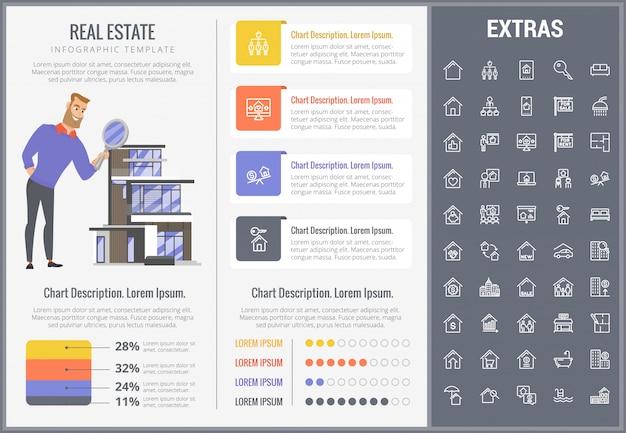 Nieruchomości infographic szablon, elementy, ikony