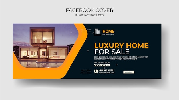 Nieruchomości na okładkę na facebooka i post w mediach społecznościowych lub szablon kwadratowego banera