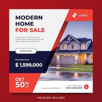 Nieruchomości nowoczesny dom na sprzedaż media społecznościowe baner reklamowy projekt reklamy