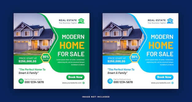 Nieruchomości nowoczesny dom na sprzedaż social media post z kwadratowym projektem szablonu banera internetowego
