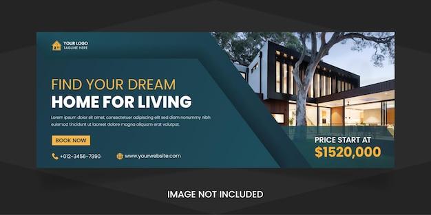 Nieruchomości nowoczesny dom na sprzedaż w mediach społecznościowych okładka na facebooka szablon projektu premium vector