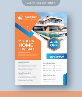 Nieruchomości nowoczesny dom na sprzedaż wektor projektu ulotki