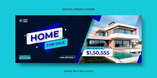 Nieruchomości nowoczesny dom sprzedaż okładka mediów społecznościowych, baner lub szablon banera internetowego