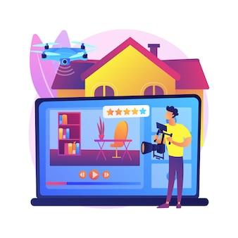 Nieruchomości wideo wycieczka abstrakcyjna ilustracja koncepcja. marketing nieruchomości, streaming wideo z drona online, zdjęcia promocyjne, dni otwarte, spacer w pełnym ruchu.
