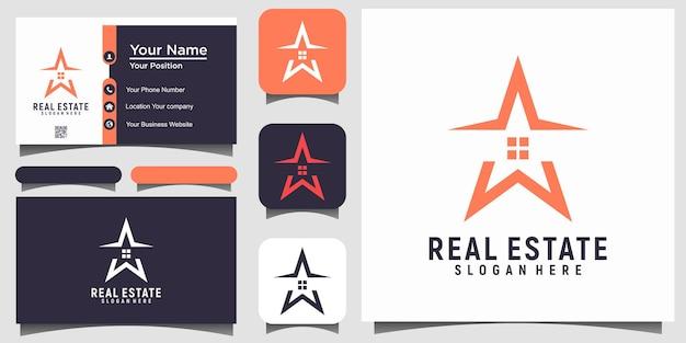 Nieruchomości z gwiazdowym wektorem projektu logo z wizytówką szablonu